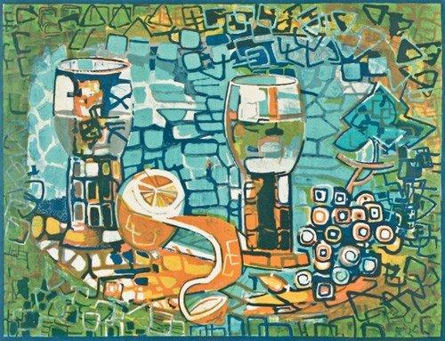 """23: Françoise Gilot """"Les Deux Verres"""" 1970 lithograph"""