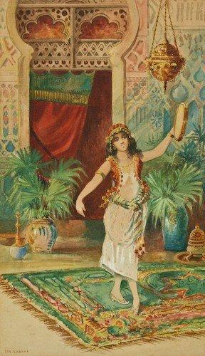 """24: M. Cobini """"Arabian Belly Dancer"""" watercolor"""