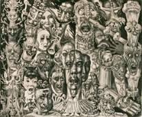 """42: Eduard Wiiralt """"Porgu"""" (Hell) 1930 etching"""