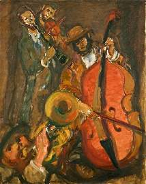 """45: Man�-Katz """"Musicians"""" ca. 1947 oil on canvas"""