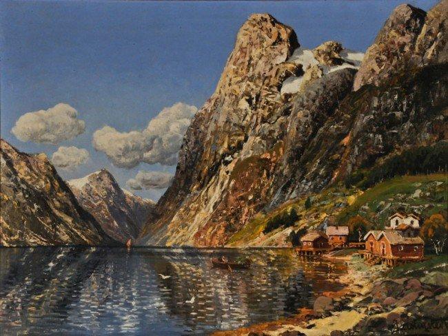 Johann Holmstedt, In the Lofotes, oil on canvas
