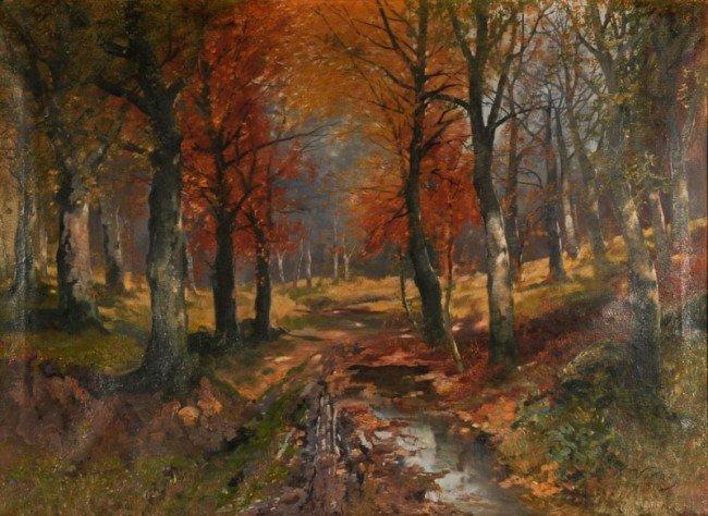 Karl Vikas, Autumn Woods, oil on canvas