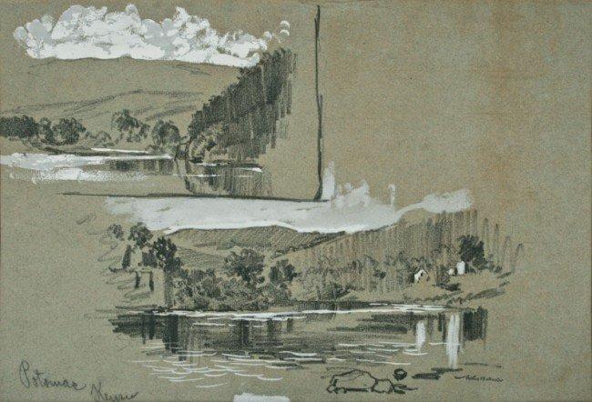 Arthur B. Davies, Potomac Keyser, mixed media on paper