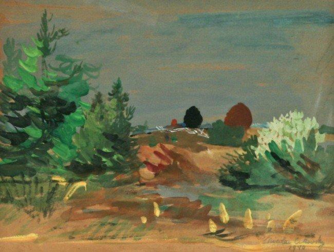 Nicolai Cikovsky, Early Fall Day, gouache on paper