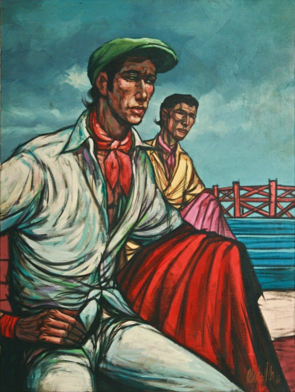 Alberto Ruis Vela, Untitled (Two Men), oil on canvas