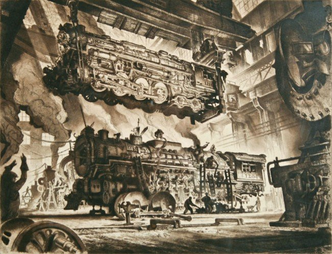 Reynold Weidenaar, Locomotive Shops, 1947
