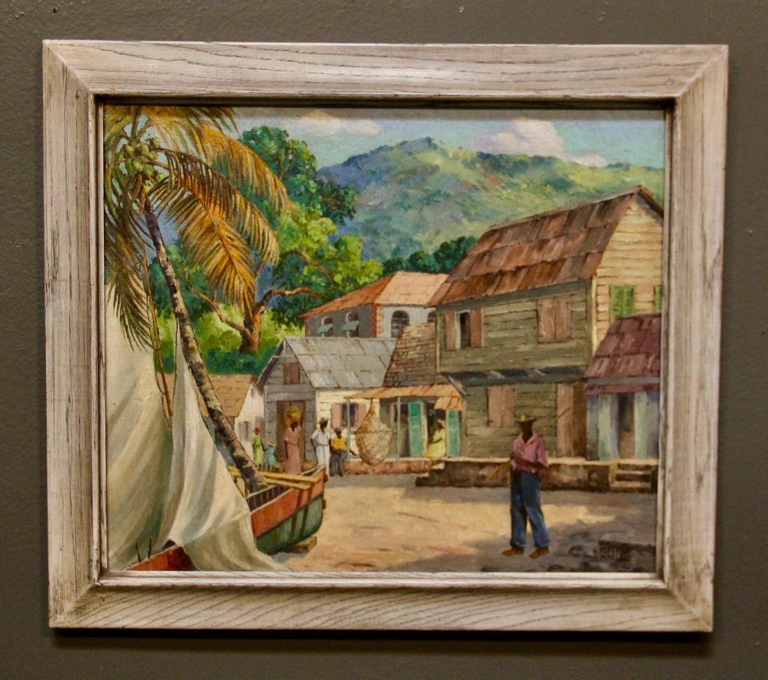 Tropical Village Scene (Jamaica?) by Robert MacLeod