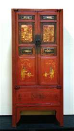 305: Antique Chinese Red Lacquer Armoire
