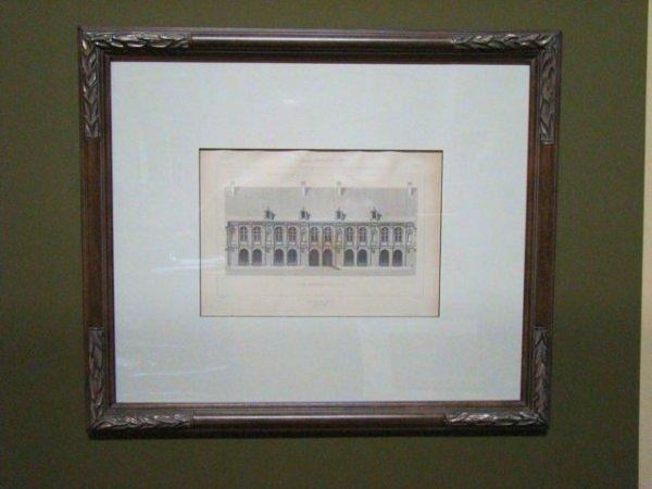 "109: Pair Antique Architectural Rendering Mid 1800""s"