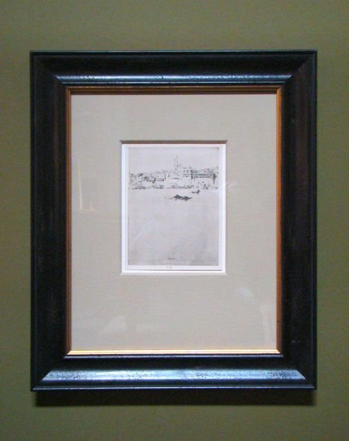 111: Print of European Bay Rustic Black Frame