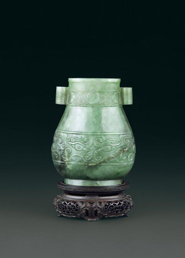 3: Archaistic Chrysoprase Bottle  Period:   Qing Dynast