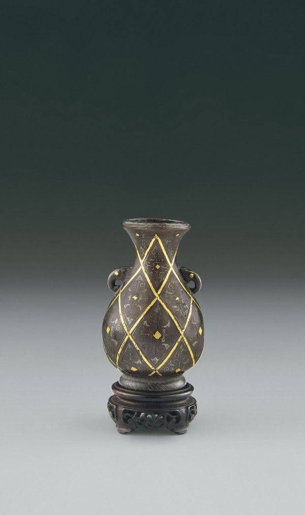 4: Silver and Gold Inlaid Bronze Bottle  Period:   Ming