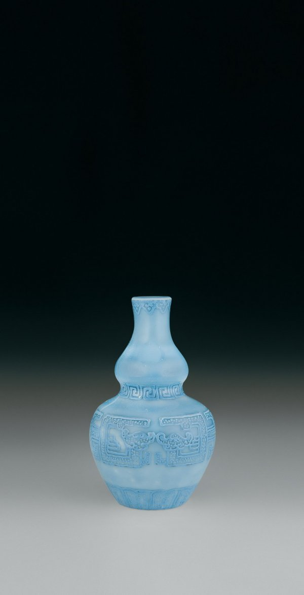 5: Bottle Gourd-shaped Pale Blue Enamel Small Bottle wi