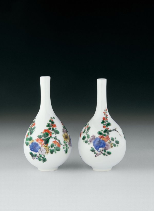 14: A Pair of Famille Verte Big-Bellied Vases  Period: