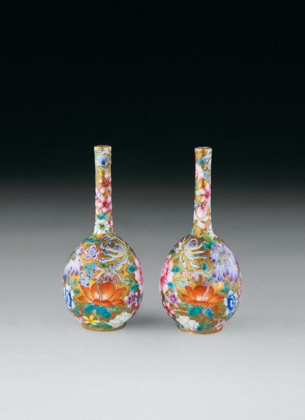 18: Famille-Rose Floral Patterned Porcelain Vase  Perio
