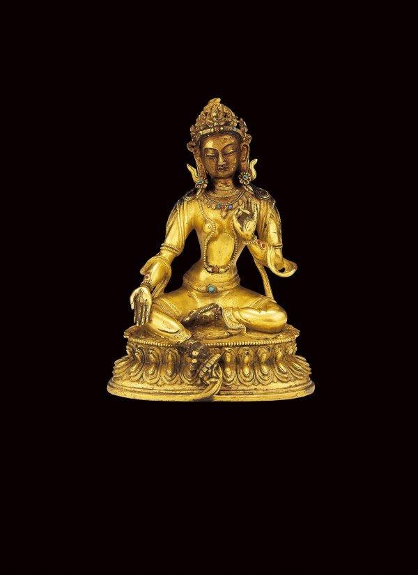 149: Green Tara   Period:  18th Century  Quality:  Gilt