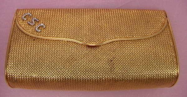 1: 18K gold woven mesh purse diamond monogram18k yellow
