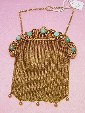 3: Art nouveau 14K gold mesh purse, turquoise, diamonds