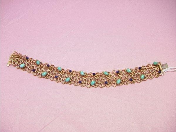 4: 14K gold GROSSE German bracelet turquoise and lapis1