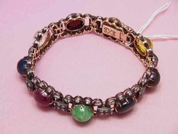 5: 14Kgold & Sterling diamond precious stone bracelet