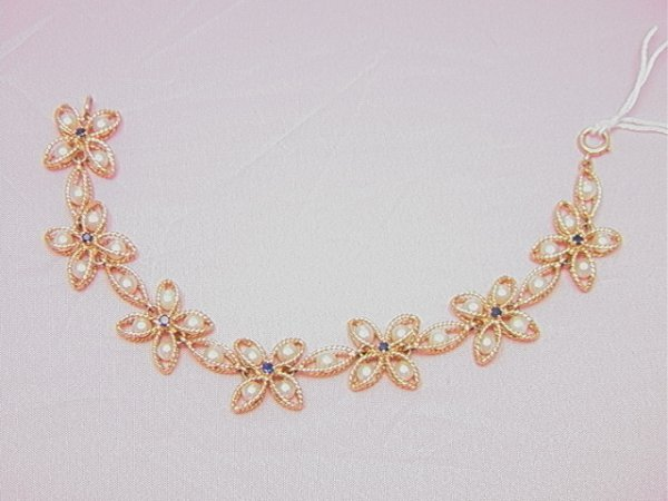 6: 14K yellow gold pearl sapphire floral link bracelet
