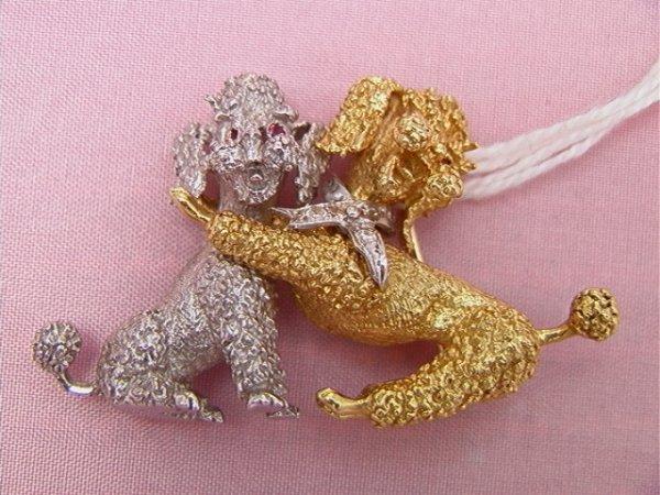 8: 14K two tone gold, two poodles pin, diamonds and rub