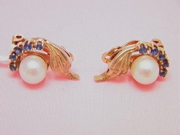 12: 14K yellow gold pearl sapphire clip earrings14K yel