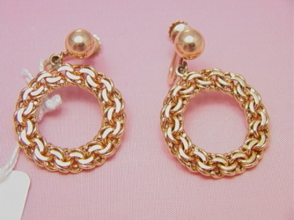 13: 14K yellow gold braided dangle earring14K yellow go