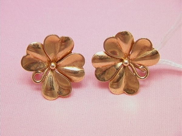 15: 14K yellow gold four leaf clover earrings14K yellow