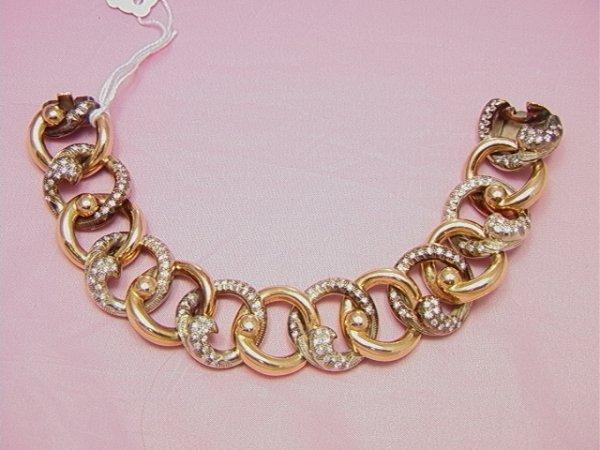 19: 18K yellow/white gold heavy diamond link bracelet18
