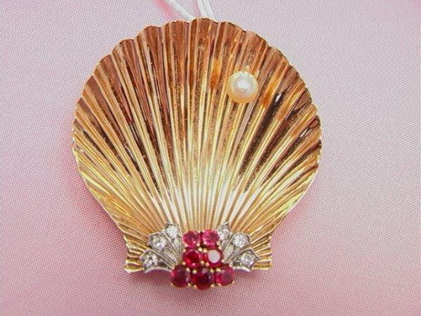 21: CARTIER 14K diamond, ruby, shell pin CARTIER 14K di