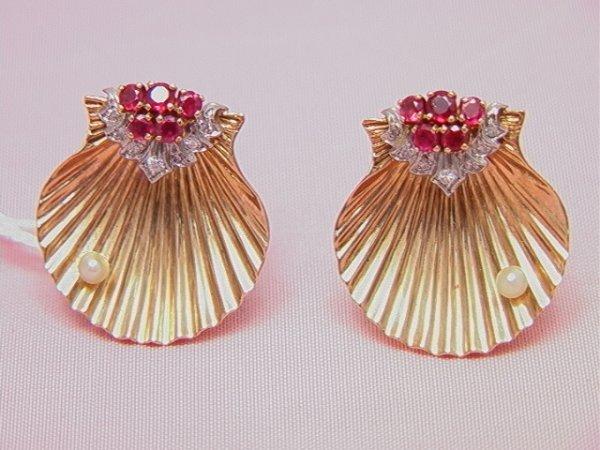 22: CARTIER 14K diamond, ruby, shell earrings CARTIER 1