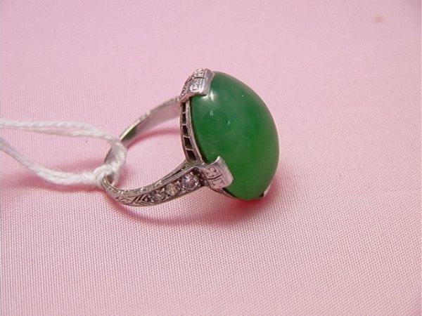 53: Platinum, art deco jade and diamond ring Large ov