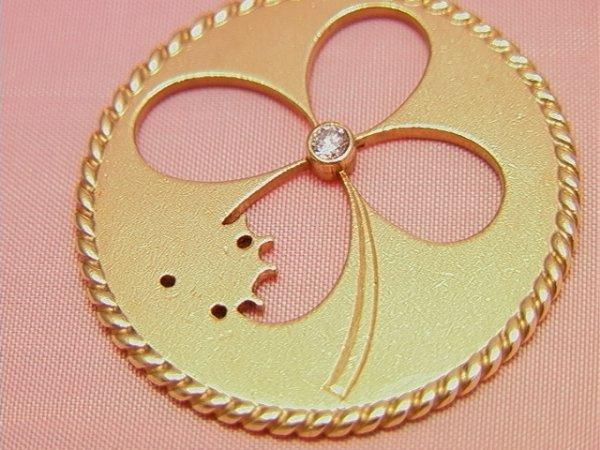 91: CARTIER 14K gold diamond shamrock Pendant Charm - 2