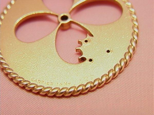 91: CARTIER 14K gold diamond shamrock Pendant Charm - 4