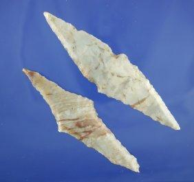 4: Pair of Harahey four bevel knives made from Alibates
