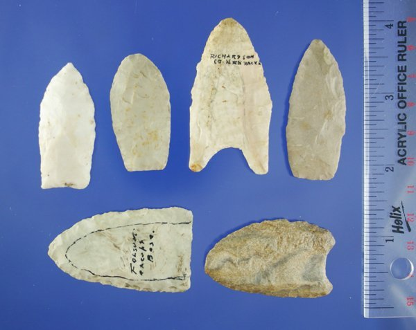 110C: 6 Assorted Paleo Points some fluted-one from NE,