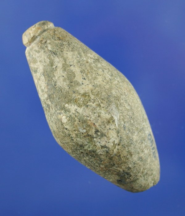 "114: 2 3/4"" Grooved Hardstone Plummet found in Ohio"