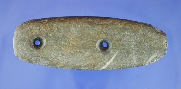 "120D: 3 7/8"" slate Gorget found in Ohio  - Ex. Richard"