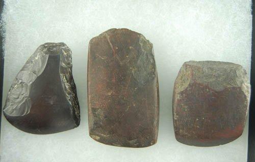 12: Set of 3 Hematite miniature celts found in OH. Lar