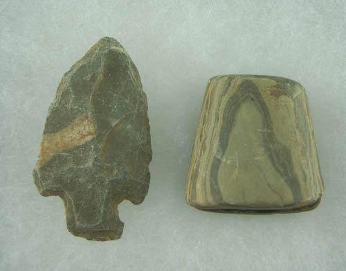 """16: Salvaged Slate Banner stone and Slate point 2 3/8""""."""