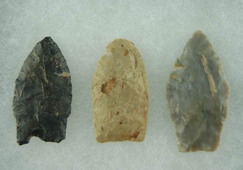 18: Group of three Paleo Points found in OH. Lar Hothem