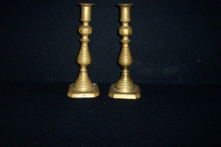 19: Pr 19th C Brass Candlesticks