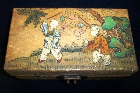 21: 19th c Chinese Japanse Pig Skin Box
