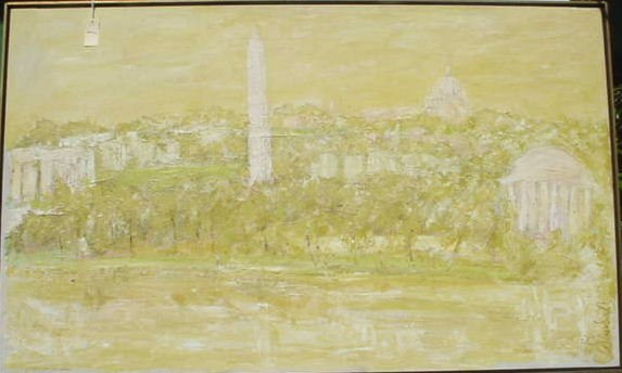 1001: DOT WOODALL OIL ON CANVAS PAINTING