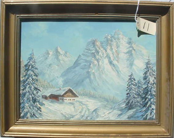 1011: A PLOCH OIL ON CANVAS LANDSCAPE PAINTING