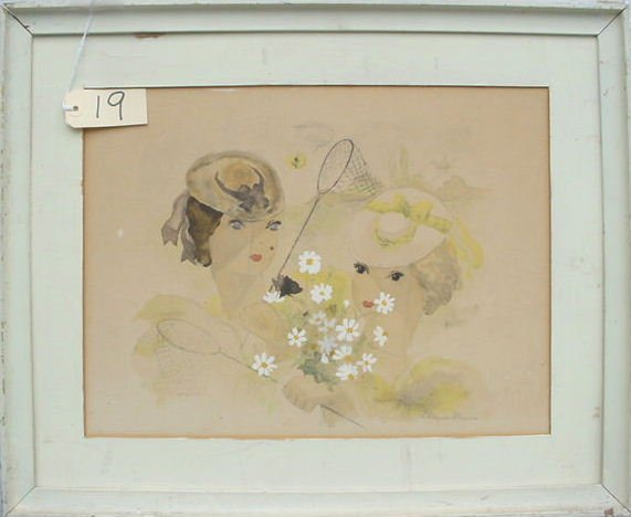 1019: VINTAGE FRENCH DECO COLORED LITHOGRAPH 1936