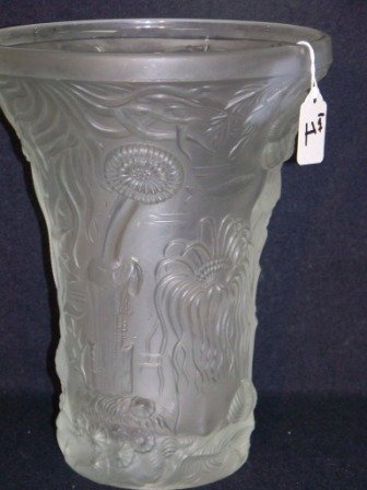 1: 20th c. Art Glass Frosted Vase