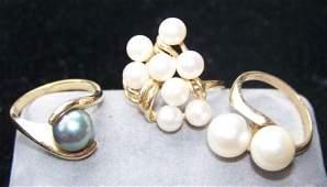 110M: 3 Ladies 14kt Yellow Gold & Pearl Rings