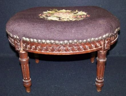 7: Antique French Needle Point Stool